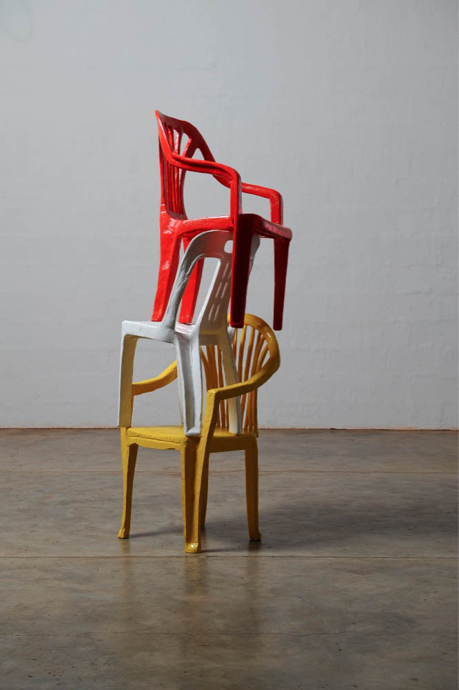 Cameron Platter Red Chair, 2012, carved jacaranda wood, paint, 90 x 50 x 55 cm each 