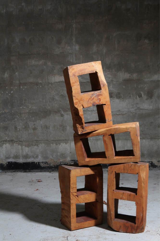 Cameron Platter Cinder Blocks, 2012, carved jacaranda wood, 35 x 20 x 15 cm each   — Galerie Éric Hussenot, Paris