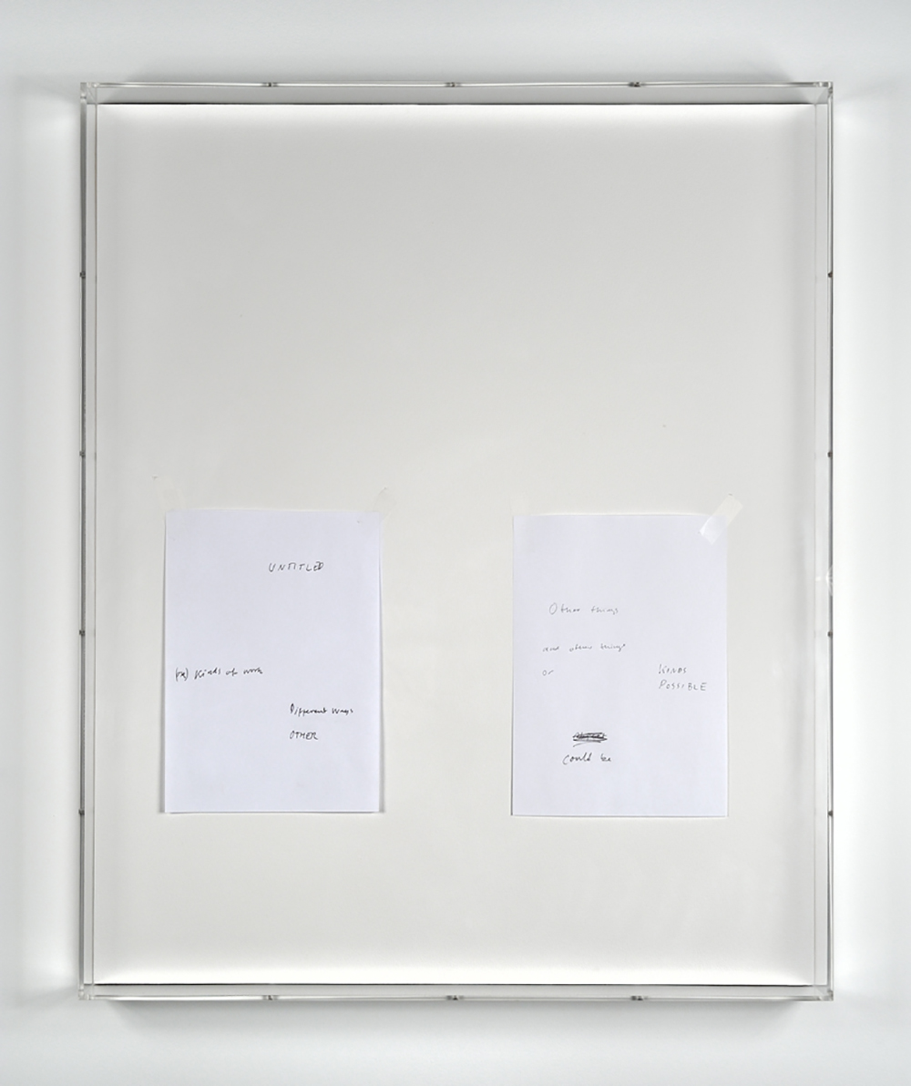 Untitled text (like notes), 2013, Mixed media on paper, plexiglass cases, 