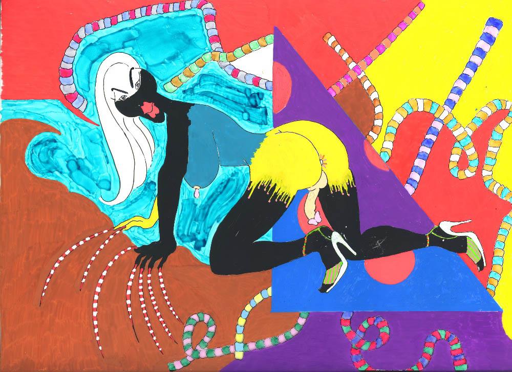 Riding the big poop wave, 2010, Acetate drawing, 30,5 x 38,5 cm   — Galerie Éric Hussenot, Paris