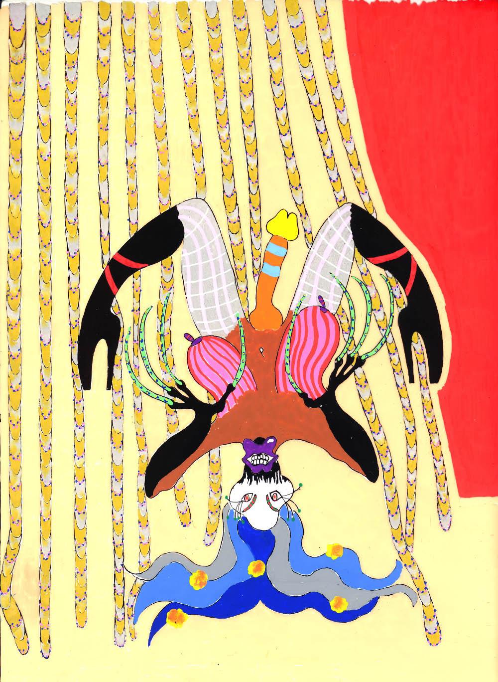 Trans Sado Maso renversé au rideau doré et argenté 2010, Acetate drawing, 30,5 x 38,5 cm   — Galerie Éric Hussenot, Paris
