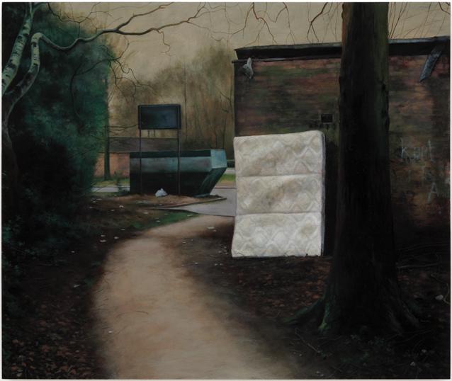 2000 AD,  2008, Humbrol enamel on board, 46 x 55 cm   — Galerie Éric Hussenot, Paris