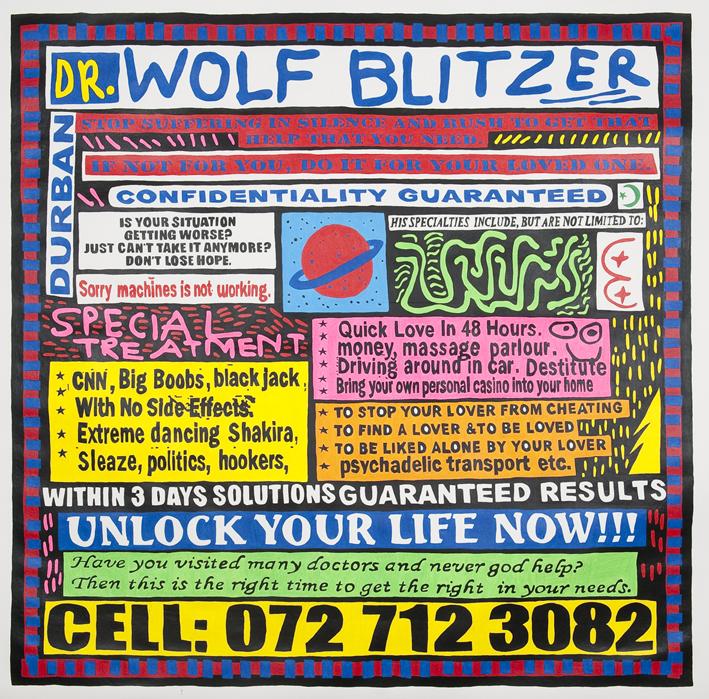Cameron Platter, Dr Wolf Blitzer, 2010, Dessin sur papier , 180 x 180 cm   — Galerie Éric Hussenot, Paris