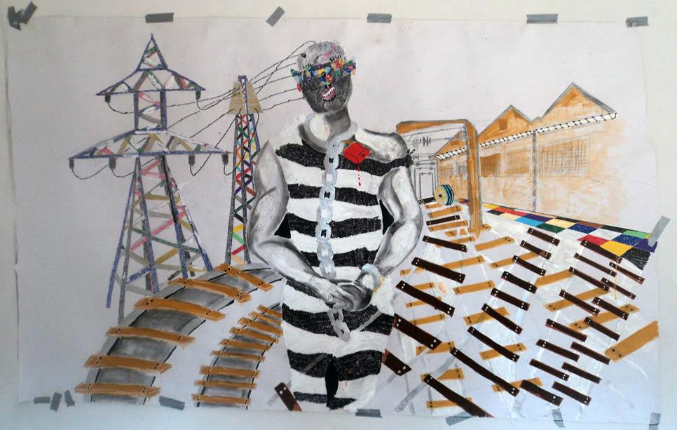 Kura Shomali, Mémoire katanga business , 2011, Technique mixte, collage, fusain, feutre, stylo, gouache sur papier,   125 x 225 cm   — Galerie Éric Hussenot, Paris