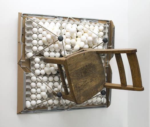 Agathe Snow Spinning with the Vicious Dissipation of an Egg While Sitting on your Face,  2007, Cardboard, egg shells, egg cartons, wooden chair, metal, rubber, tape, glue, 81 x 84 x 79 cm — Galerie Éric Hussenot, Paris