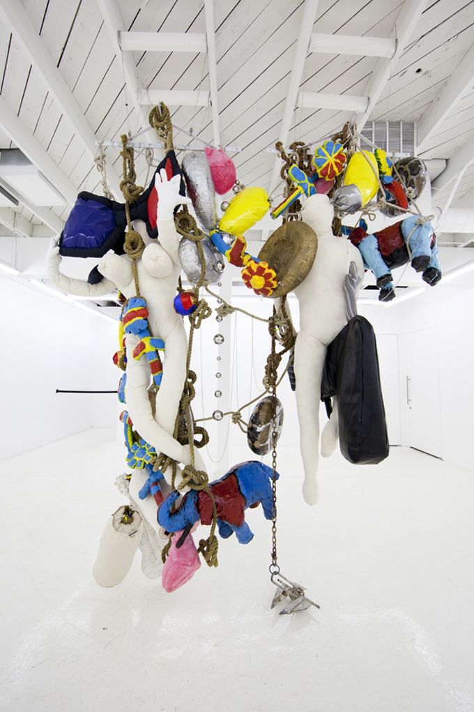 Agathe Snow Oh, Sandy!,  2012, Shelf brackets, fishing boat ropes, papier-mâché, fiberglass, plastic candycane lights, vinyl fabric, glass beads, stringed mirrored balls, stuffing, canvas, stretch skeletons, chains, foam moons, foam hearts, fabric balls, anchor and steel wire, 304,8 x 213,4 x 122 cm — Galerie Éric Hussenot, Paris