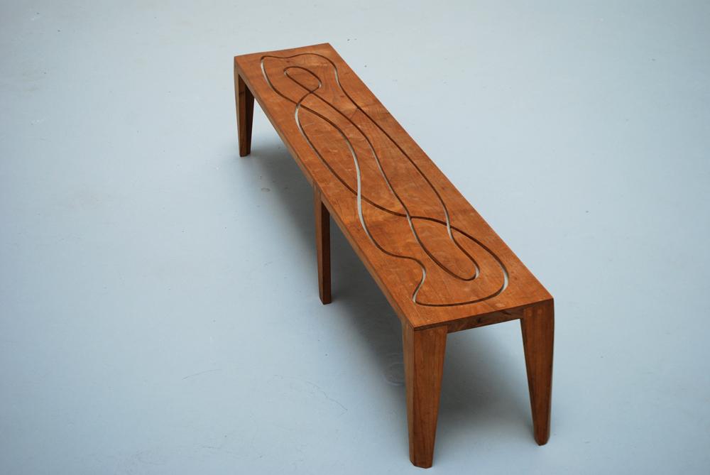 Jorge Pardo, Untitled, 2005, Pièce unique, Banc en bois et verre, 137 x 27 x 31 cm   — Galerie Éric Hussenot, Paris