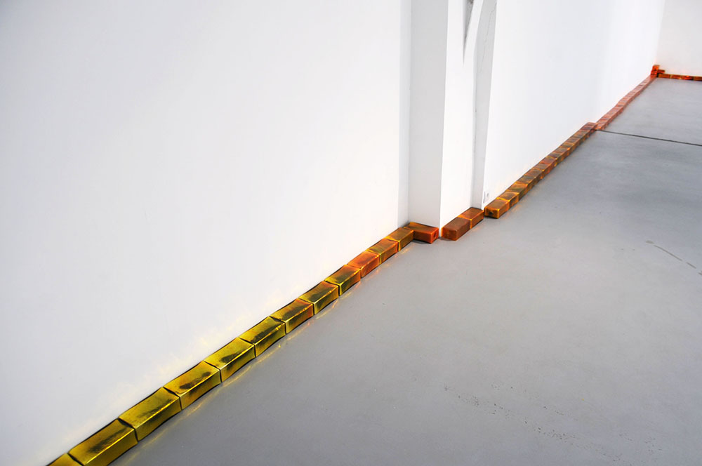 Pae White, Creamsicle, 2005, 75 orange glass bricks, 