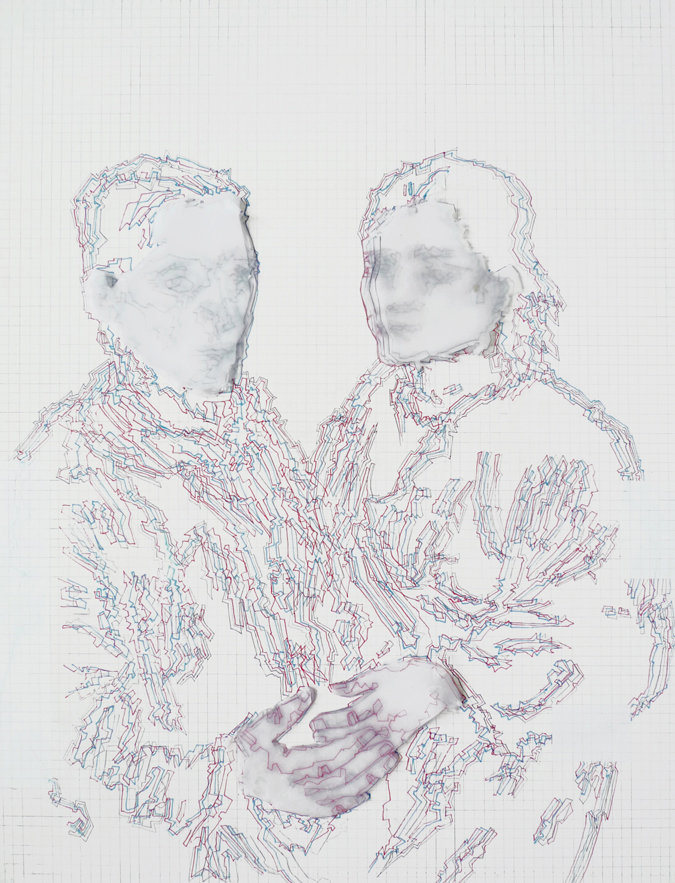 Double Portrait Variation#2, 2011, Acrylic, Ink and Tracing Paper on Wood Panel, 