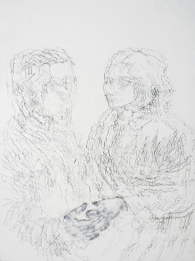 Double Portrait Variation #1, 2011, Acrylic, Ink and Tracing Paper on Wood Panel, 