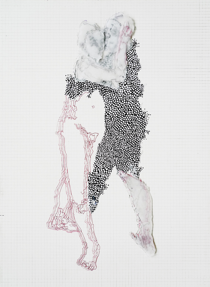 Double Portrait Variation #4, 2010 Acrylic, Ink and Tracing Paper on Wood Panel, 