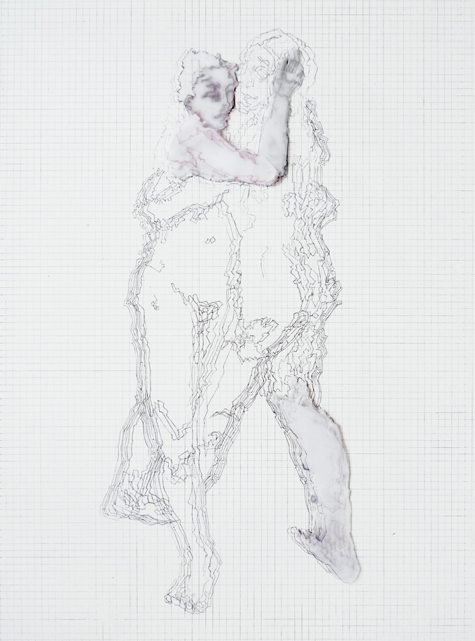 Double Portrait Variation #3, 2010 Acrylic, Ink and Tracing Paper on Wood Panel, 