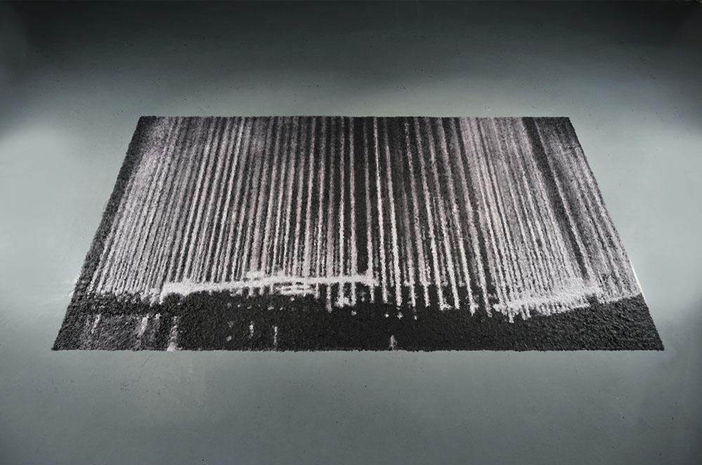 Volutile, Nuremberg, 2012, Confettis, Installation au sol, 600 x 336 cm   — Galerie Éric Hussenot, Paris