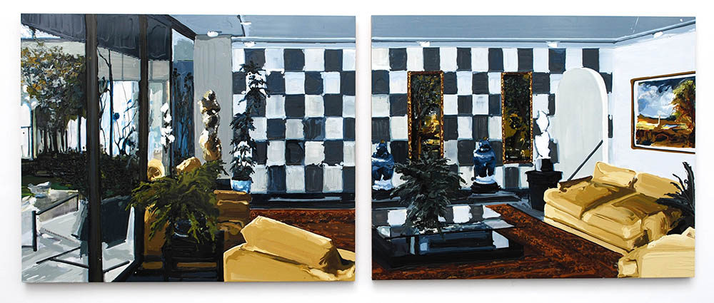 Landscape With Obelisk,  2009, Oil and enamel on panel, Diptych: 4 x 5 feet each panel — Galerie Éric Hussenot, Paris