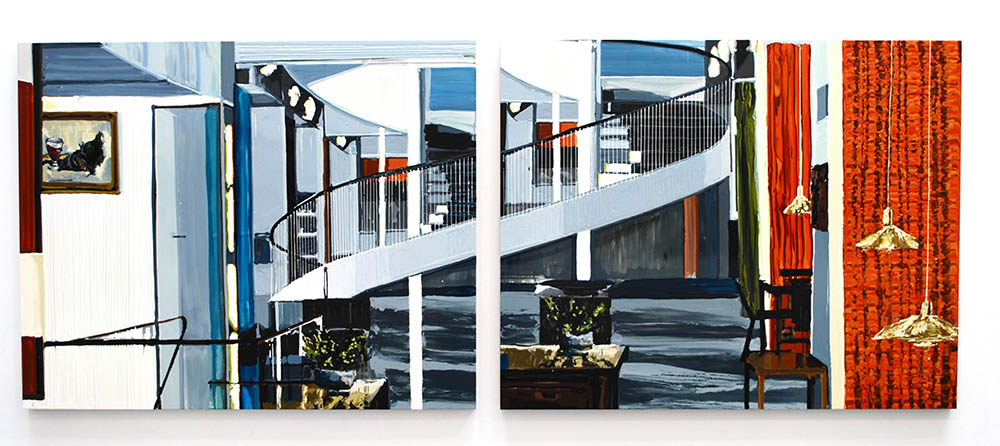 Still Life with Herring,  2009, Oil and enamel on panel, Diptych: 4 x 5 feet each panel 