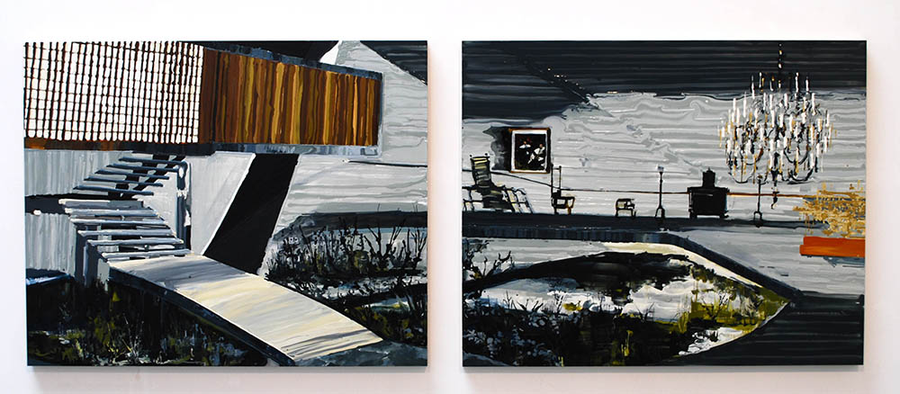 A Lady and Gentleman in Black,  2009, Oil and enamel on panel, Diptych: 4 x 5 feet each panel — Galerie Éric Hussenot, Paris