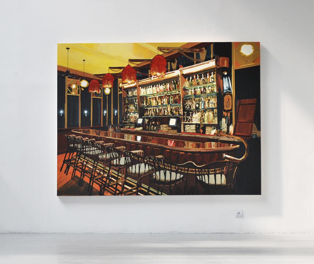 Bar (Red Lanterns), 2011, Oil and enamel on wood panel, 183 x 244 cm    — Galerie Éric Hussenot, Paris