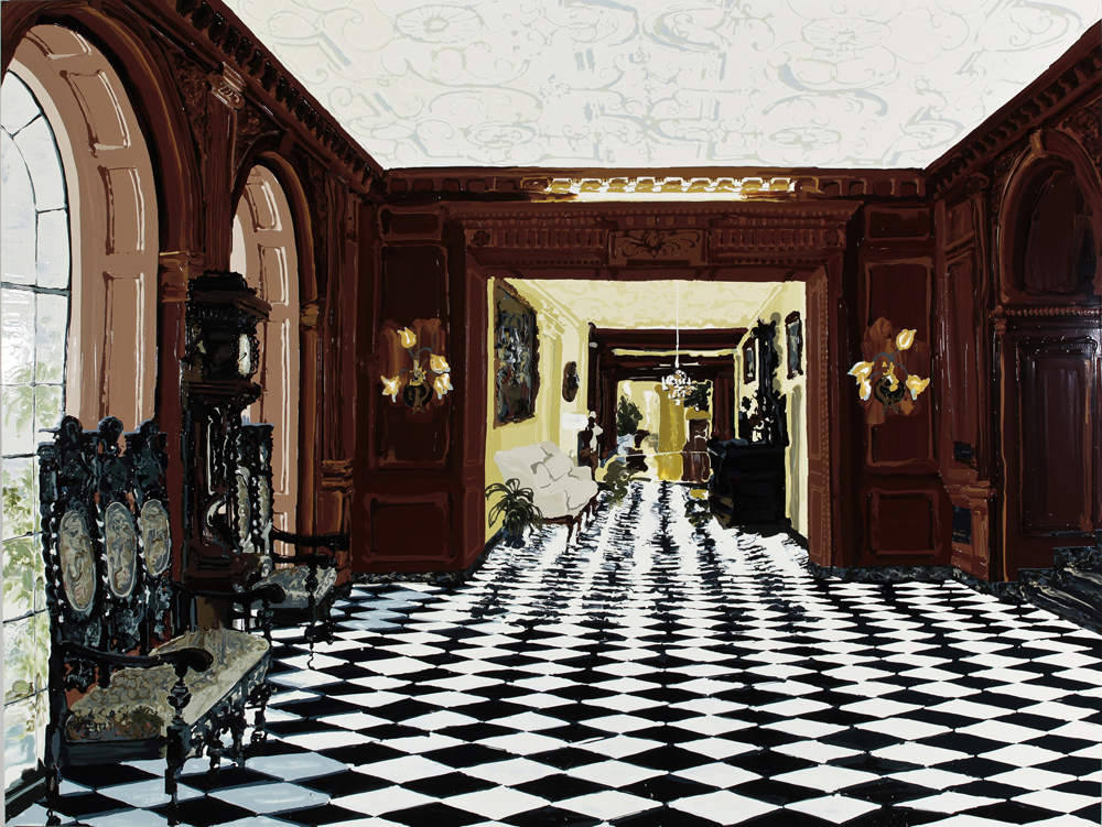Foyer, 2011, Oil and enamel on wood panel, 183 x 244 cm  