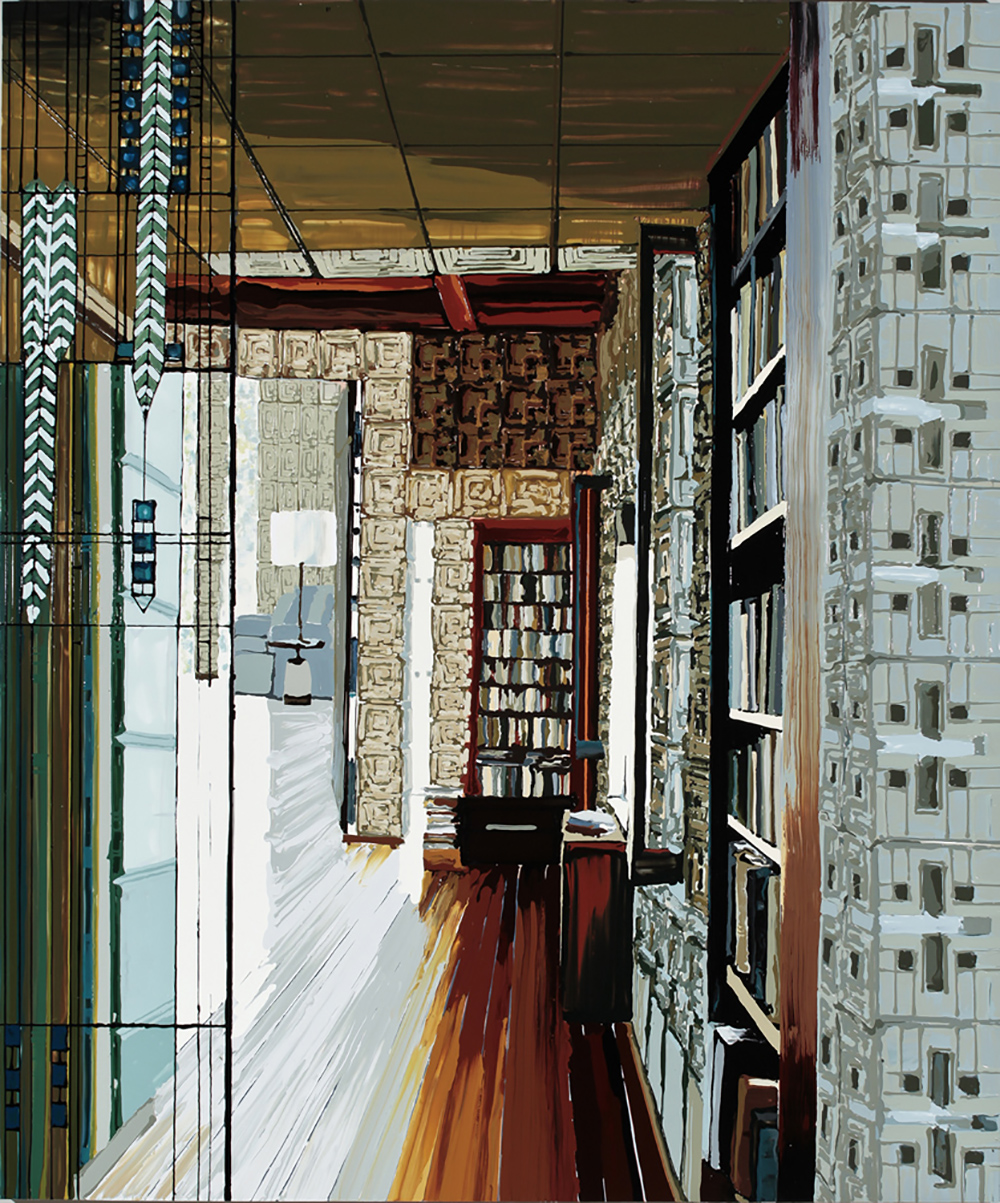 Library, 2011, Oil and enamel on wood panel,  