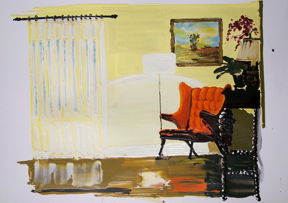 Bungalow, 2011, Oil and enamel on paper, 56 x 78,5 cm    — Galerie Éric Hussenot, Paris