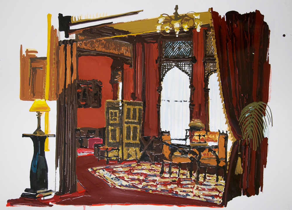 Red Room, 2011, Oil and enamel on paper, 56 x 78,5 cm    — Galerie Éric Hussenot, Paris