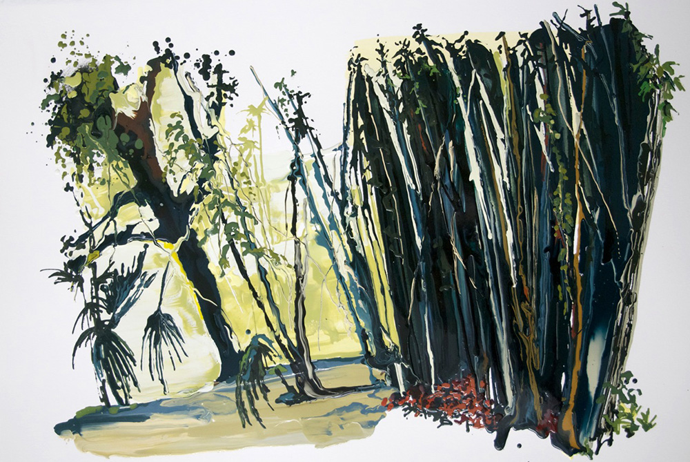 Singapore, 2011, Oil and enamel on paper, 56 x 78,5 cm  