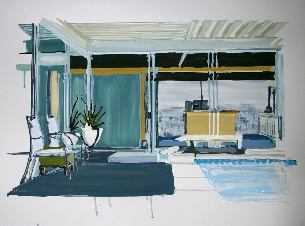 Interior, 2011, Oil and enamel on paper, 56 x 78,5 cm    — Galerie Éric Hussenot, Paris