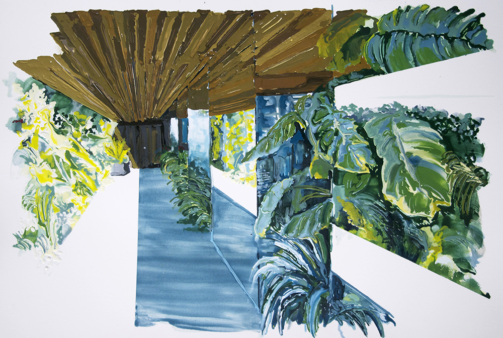 Walkway, 2011, Oil and enamel on paper, 56 x 78,5 cm  