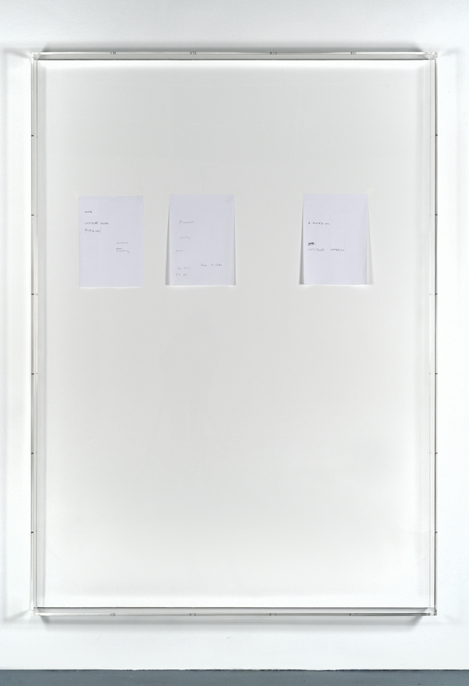 Lasse Schmidt Hansen Untitled text (like notes), 2013, Mixed media on paper, plexiglass cases, 130 x 180 x 9 cm 