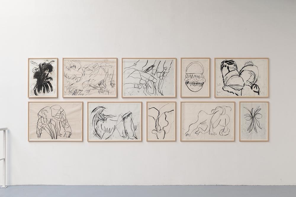 River serie Vue d'installation, Eric Hussenot, Paris, 2014, charcoal on paper, 90 x 64 cm / 64 x 45,5 cm — Galerie Éric Hussenot, Paris