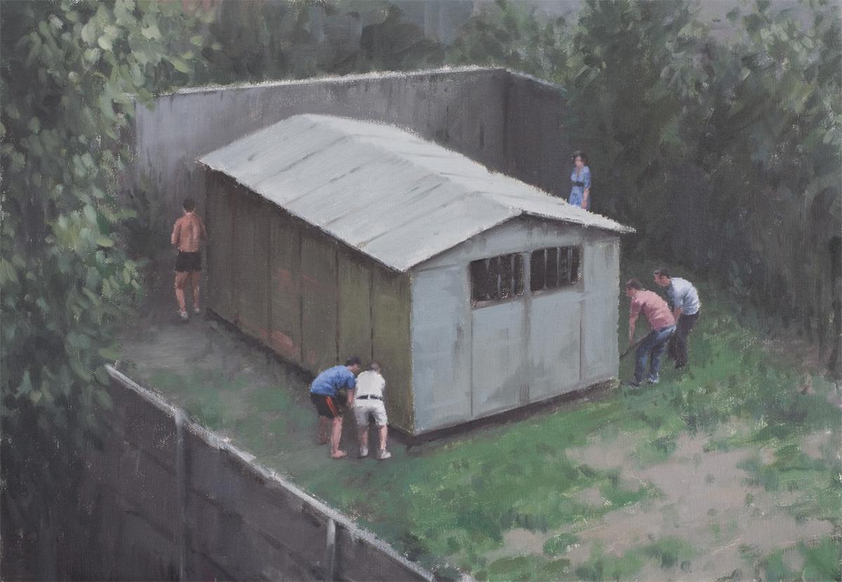Neighbour's garage, 2010, Huile sur toile, 35 x 50 cm   — Galerie Éric Hussenot, Paris