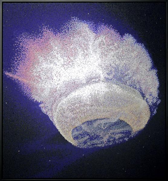 Antoine Aguilar Sweet Pikadon (newsreel, orange), 2013, Pastel à l'huile sur papier et dibond, 130 x 140 cm — Galerie Éric Hussenot, Paris