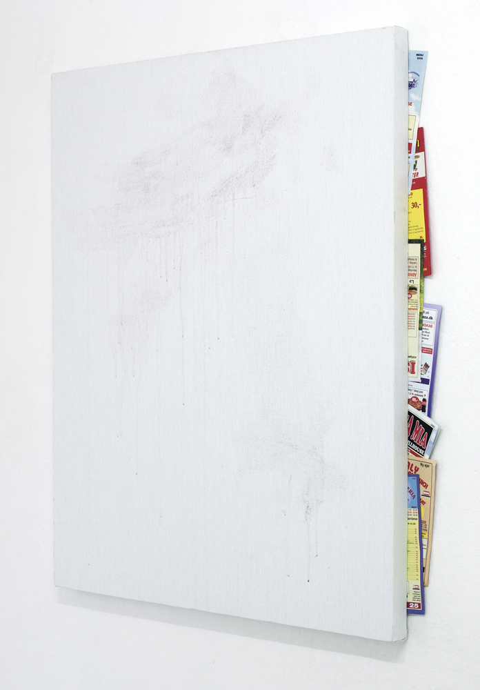 Torben Ribe Untitled with pizza menus, 2011, Granite paint on canvas, pizza menus, 100 x 85 cm 