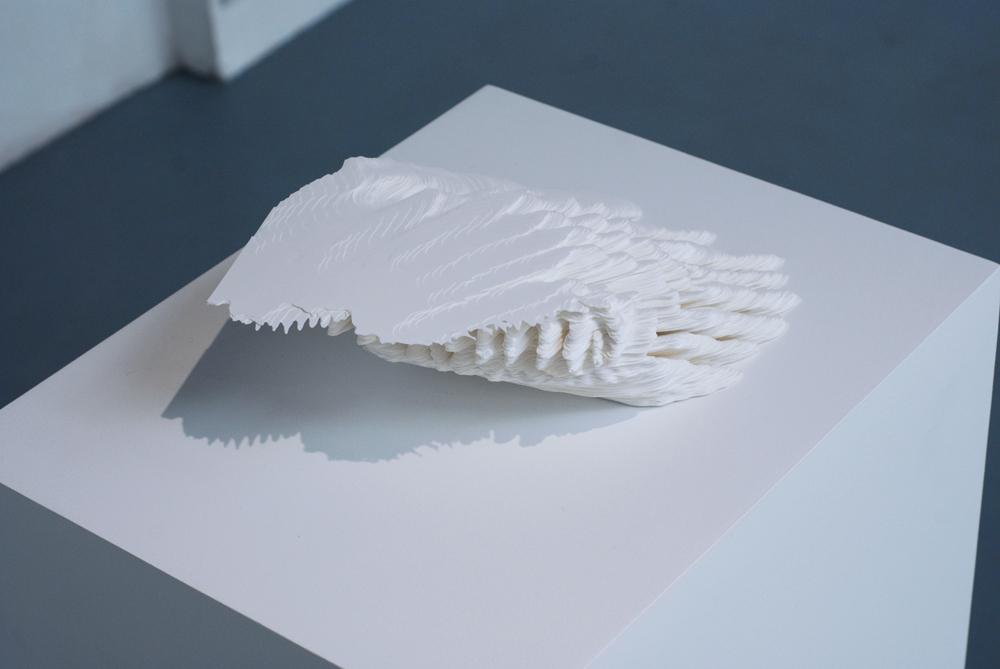 Noriko Ambe, A Piece of Flat Globe Vol.31,  2013, Cut on Yupo, glue, 6.4 x 28 x 18 cm   — Galerie Éric Hussenot, Paris