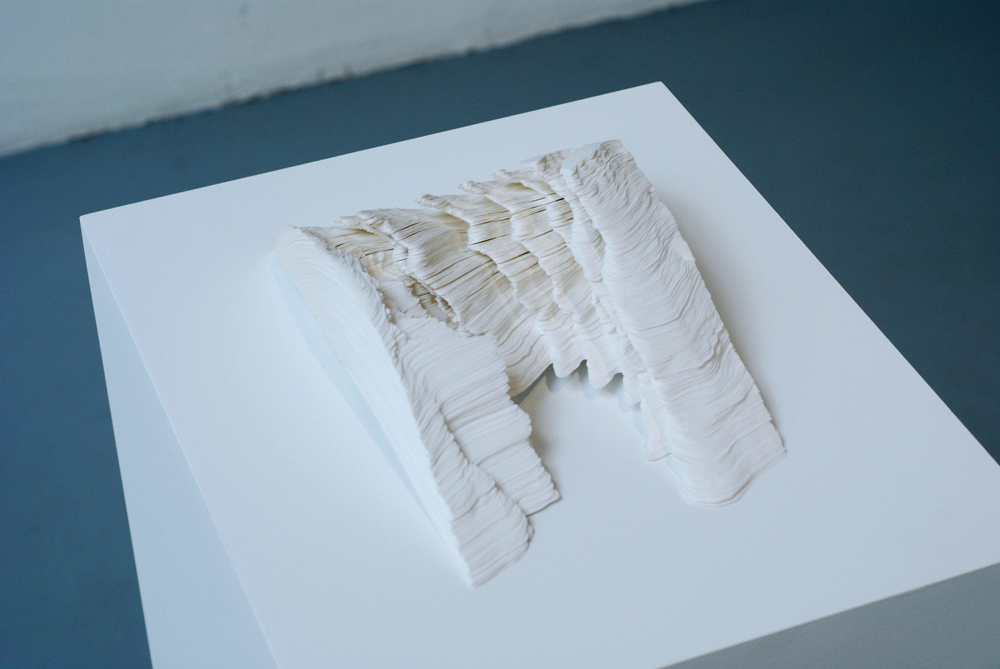 Noriko Ambe, A Piece of Flat Globe Vol.32, 2013  Cut on Yupo, glue, 6.4 x 25 x 15 cm   — Galerie Éric Hussenot, Paris