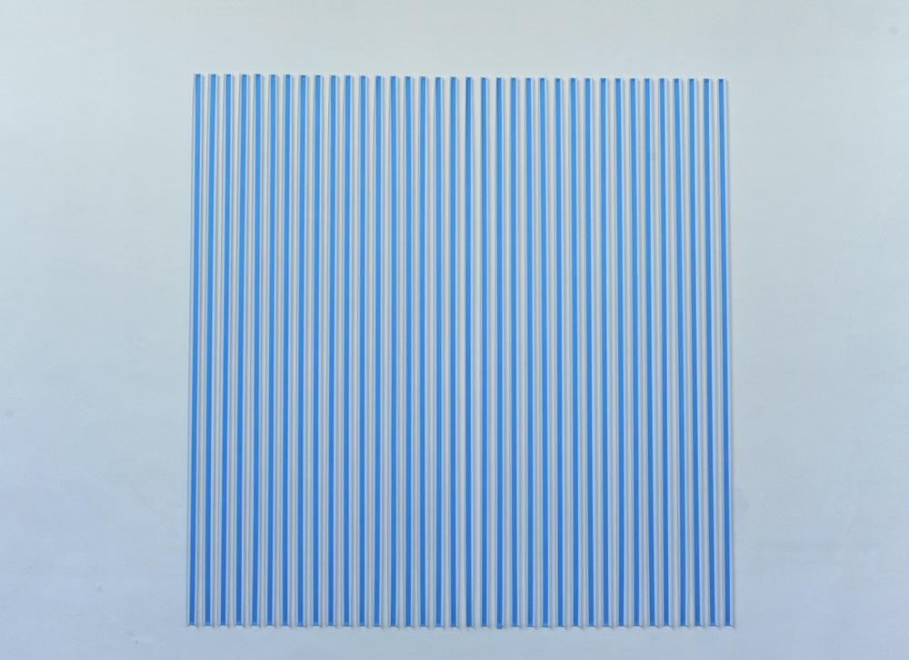 Thomas Kovachevich, Creamsicle   Blue, 2013, Unique piece, Paper ribbon, 274,3 x 274,3 cm     — Galerie Éric Hussenot, Paris