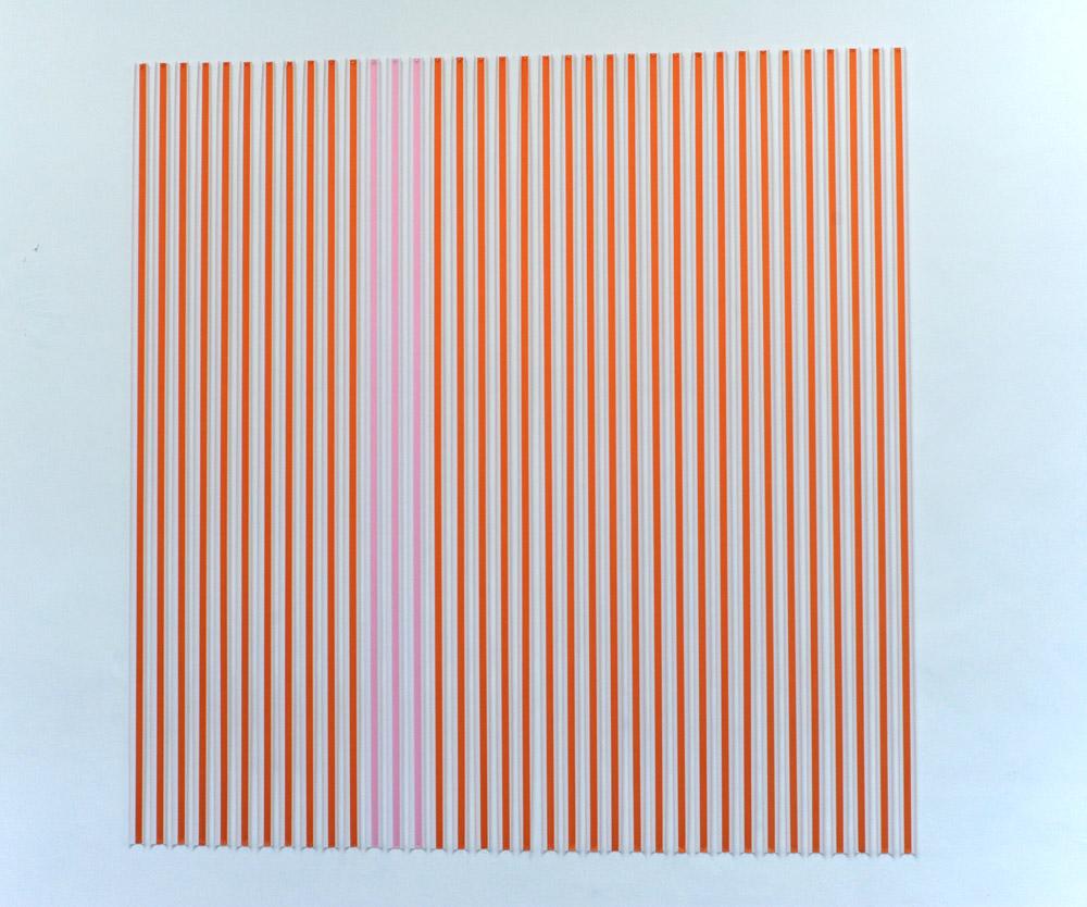 Thomas Kovachevich, Creamsicle   Pink, 2013, Unique piece, Paper ribbon, 274,3 x 274,3 cm   — Galerie Éric Hussenot, Paris