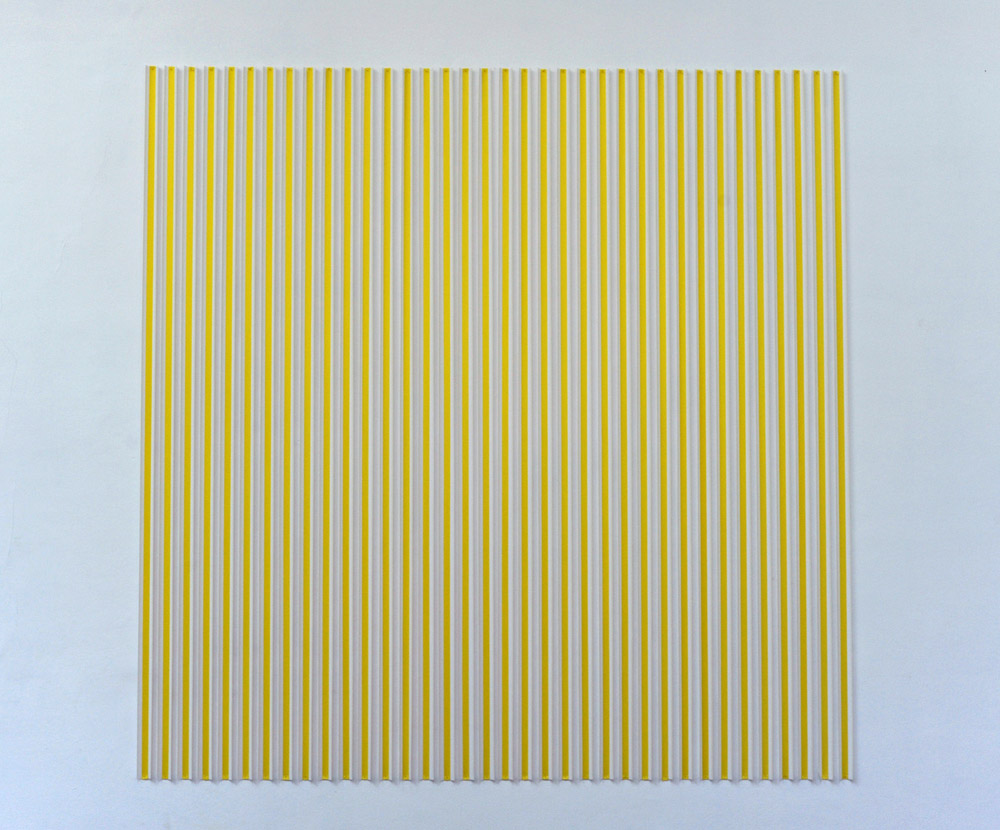 Thomas Kovachevich, Creamsicle   Yellow, 2013, Unique piece, Paper ribbon, 274,3 x 274,3 cm   — Galerie Éric Hussenot, Paris