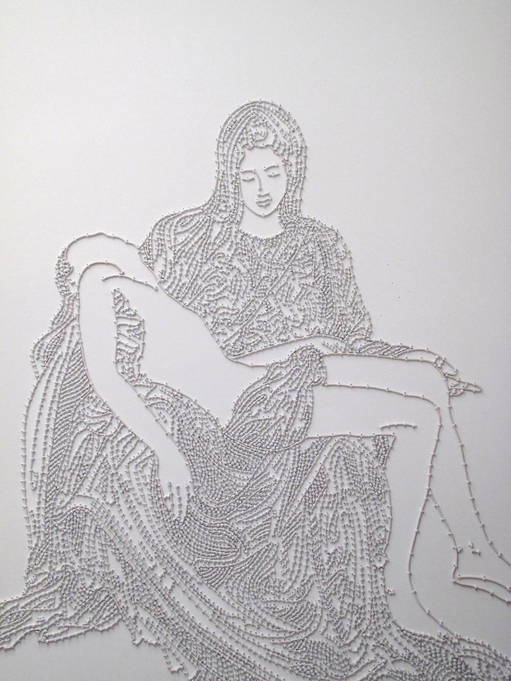 Bas-Relief La Pietà, (corps blanc sur fond blanc),  2009,  Edition 5/5, câble d'antenne et attaches,   255 x 205 cm,  — Galerie Éric Hussenot, Paris