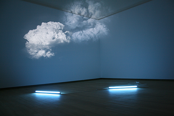 Diana Thater White is the collor, 2003, 2 Video projectors, 2 DVD players, 2 DVDs, 1 Lighting fixture,  Lighting filters and existing architecture, Dimensions variable. Installation view, Stedelijk Museum, Amsterdam, The Netherlands, 2010 