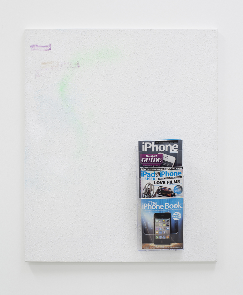 Untitled (with magazines),  Torben Ribe, 2012, Acrylic, spray, pen, wallpaper, magazine holder, IPhone magazines, canvas, 120 x 100 cm  