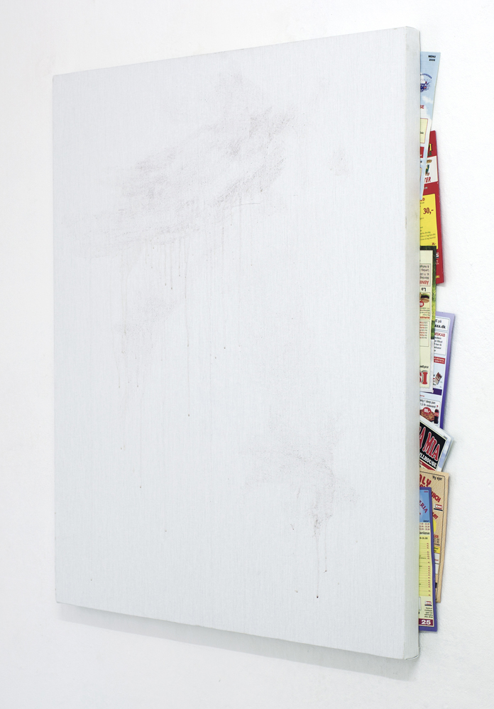 Untitled with pizza menus, Torben Ribe, 2011, Granite paint on canvas, pizza menus 