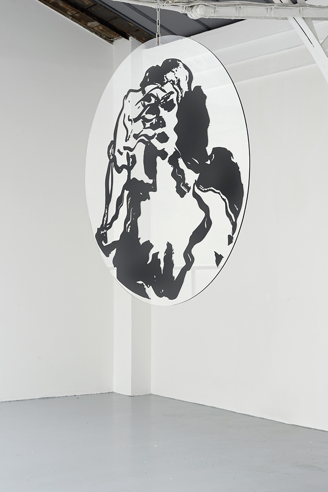 Psyche, Mira Dancy, 2015, vinyl on plexi with chain, 122 cm diameter — Galerie Éric Hussenot, Paris