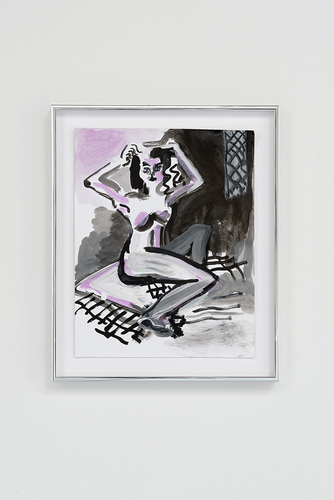 Nights Hours Woman, Mira Dancy, 2015, Ink, acrylic on paper, 27,9 x 35,6 cm — Galerie Éric Hussenot, Paris