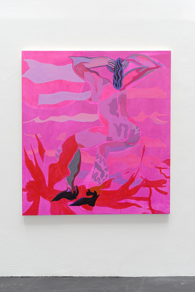 Mira Dancy Pink Moon, 2015, Acrylic on canvas, 162,6 x 147,3 cm — Galerie Éric Hussenot, Paris