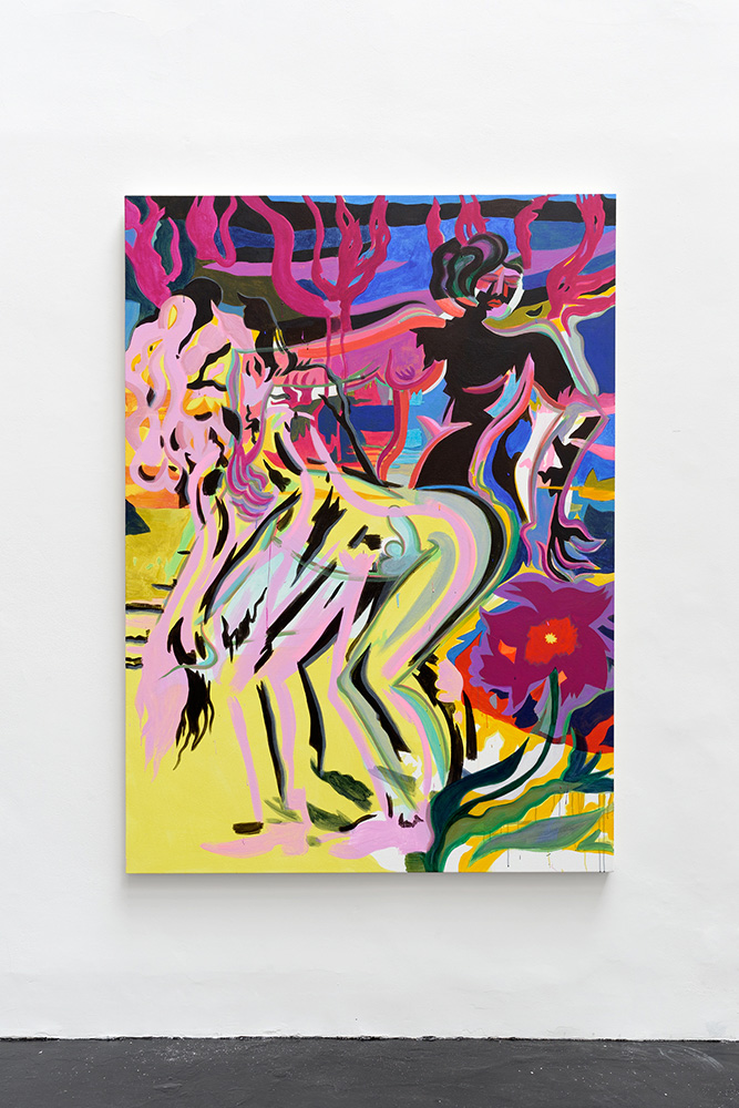 Mira Dancy Statues in the Park, 2015, Acrylic on canvas, 182,9 x 132,1 cm — Galerie Éric Hussenot, Paris