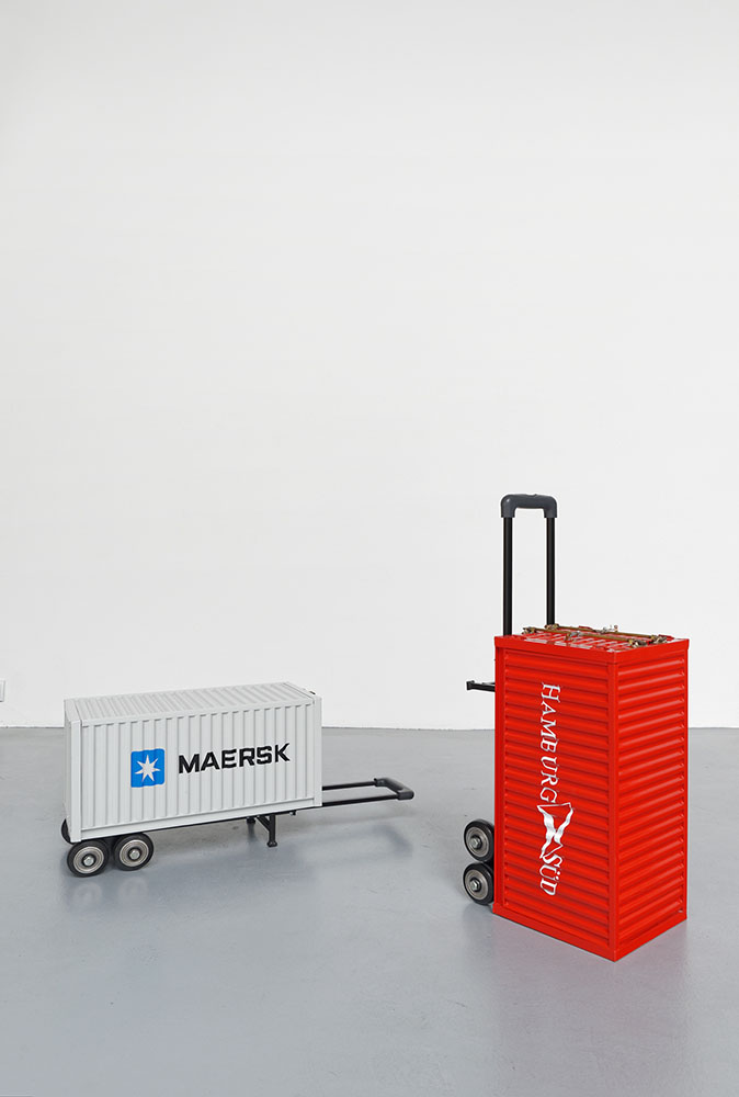 Carry On Container (HAMBURG SÜD) & Carry On Container (MAERSK), Pentti Monkkonen, , 2015, Powdercoated stamped steel, aluminum, plastic, decal, hardware, 76 x 25,5 x 25,5 cm chaque 