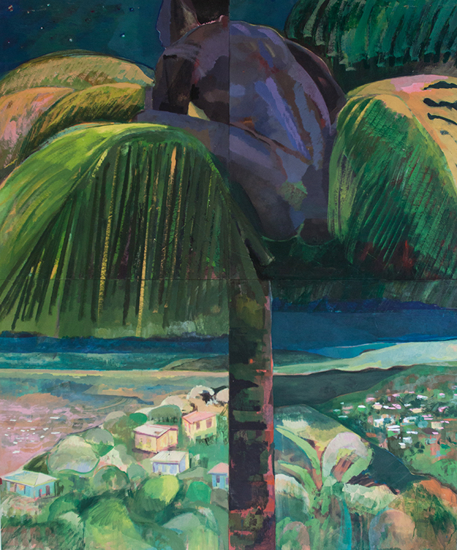 Figure at treetop, 2016, Assorted pigment on board, 152,4 x 127 cm  — Galerie Éric Hussenot, Paris