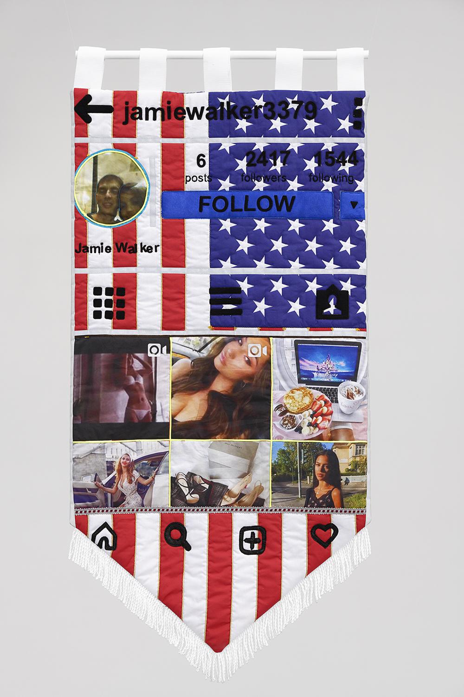 Target Audience (Jamiewalker3379), Constant Dullaart, 2019, Textile, mixed media, 102 x 56 cm — Galerie Éric Hussenot, Paris