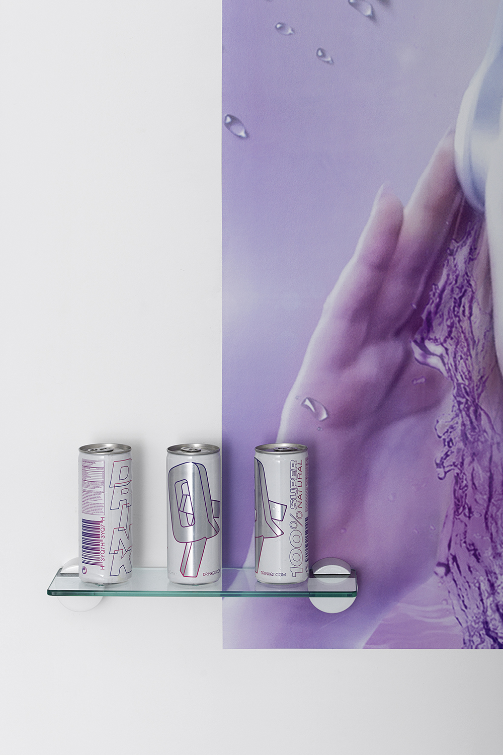 DrinkQT (detail), QT, 2015, visual : Bradley   Pablo, Energy drink cans, atex inkjet on pre-glued paper, variable dimensions — Galerie Éric Hussenot, Paris